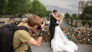 taking picture of a maried couple