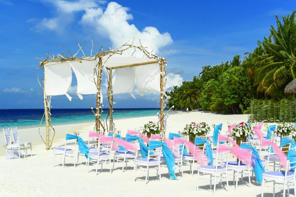 Entrance way of beach wedding